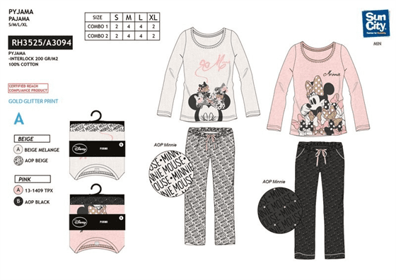Pijama Adulto Minnie Disney Interlock 6Und T.S-M-L-XL